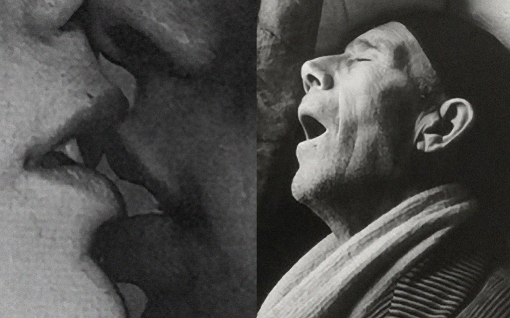 Two Black and White For Inspiraltion Friday. One is a close up of a couple in love kissing and mouths coming together. The second Photo is from Brassaï of man laying with is mouth open as though he was dead.