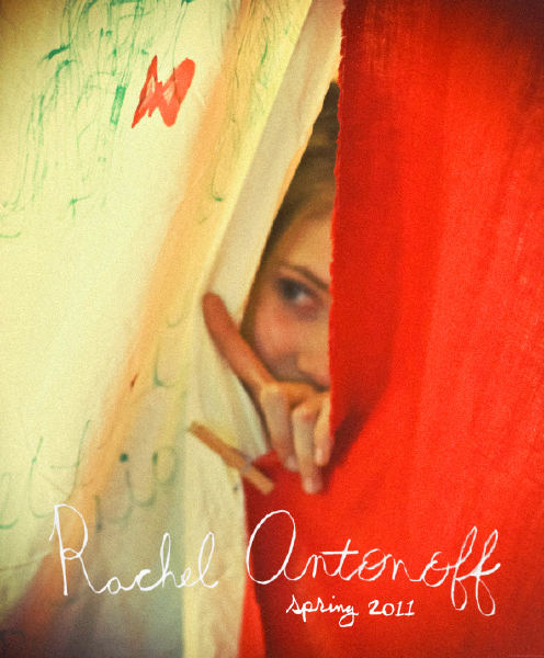 Artist Danny Roberts Photo of a girl Peeking between a white and Red Sheet held together by a close pins. Picture is from Rachel Antonoff spring 2011 Collection.