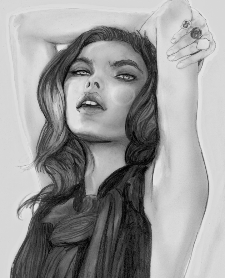 "Bambi Northwood-Blyth"" alt=""Fashion Artist Danny Roberts painting Elite model management girl Bambi Northwood-Blyth for"