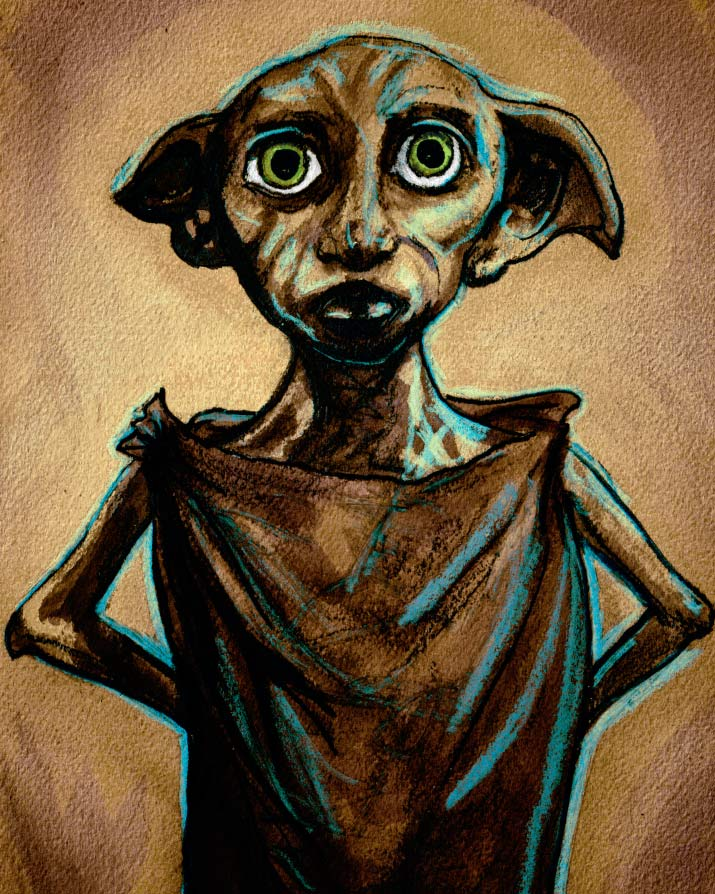 Artist Danny Roberts Tribute Painting Drawing of Harry Potter 7 and the Deathly Hallows Character Dobby the House Elf Looking straight brith green eyes