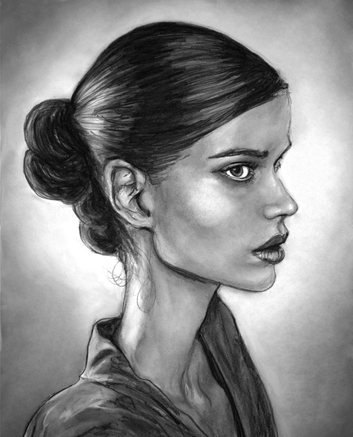 Artist Danny Roberts Black and white Profile portrait painting of Fashion Model Julia Saner for models dot coms Top Newcomers Spring 2011 Series