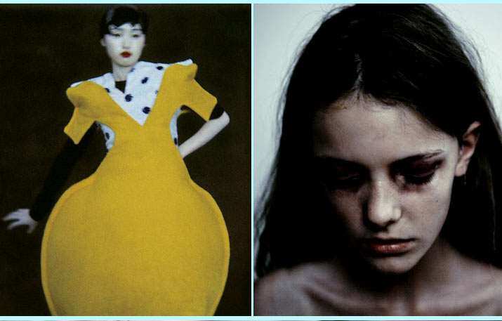 Sarah Moon photo of a japanese girl in a yellow circluar dress with white and black dots and chadwick Tyler picture of imogen morris-clarke