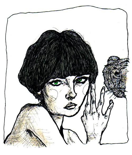 Artist Danny Roberts Re interpreted sketch of scarlett barry self portrait of her holding a piece of glass with a tiger on it