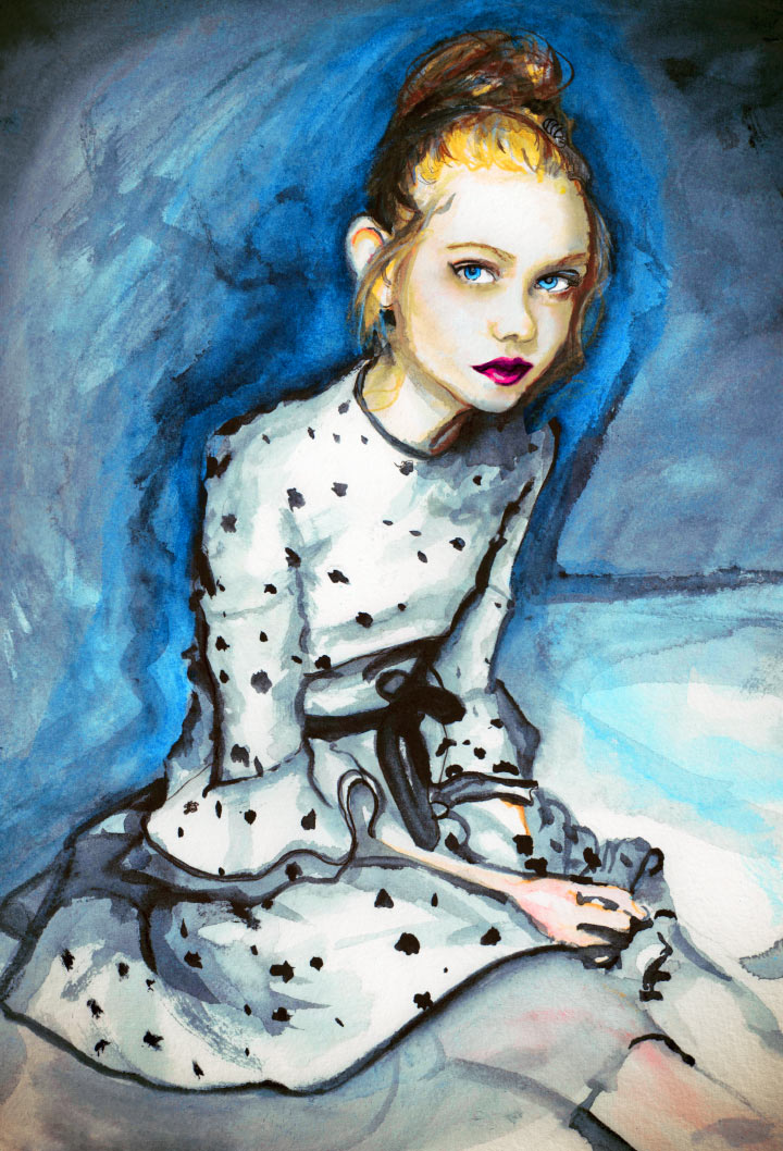 Artist Danny Roberts Painting of Actress elle fanning for her editorial with interview magazine