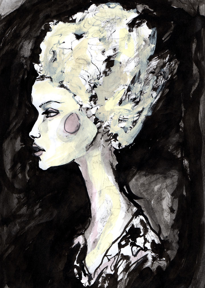 Danny Roberts first ink Painting of Gemma Ward out of the artist Character Sketch book