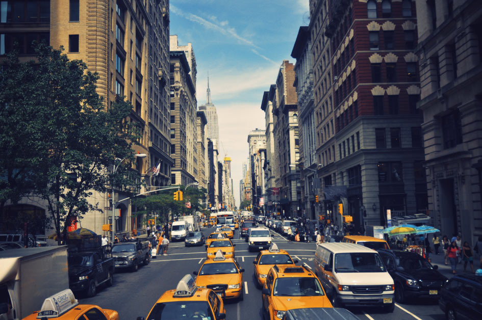 Danny Roberts Photo of busy new york streets taken from a tour bus of taxi