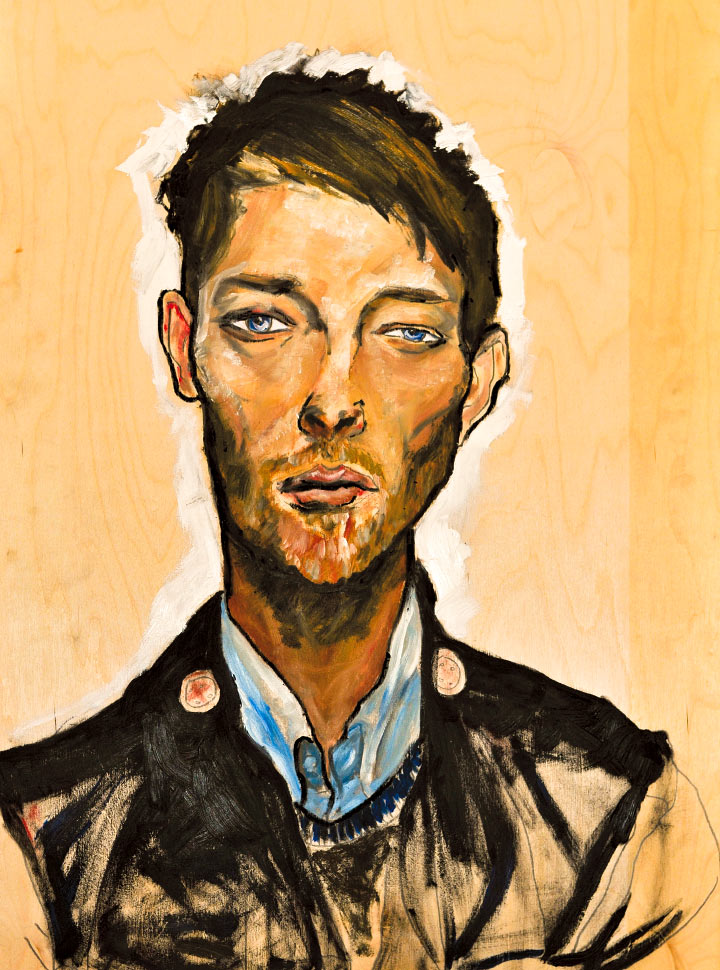 Artist Danny Roberts Oil Painting of Radiohead Muscian and Vocalist Thom Yorke art for Stacy Dupree Birthday