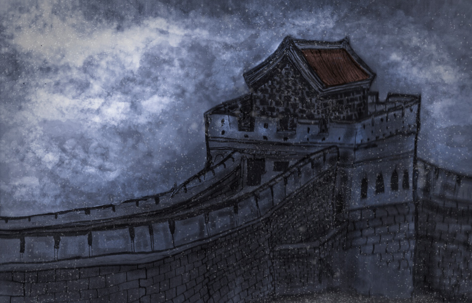 Artist Danny Roberts layered art painting of a snow great wall of china from his first window display