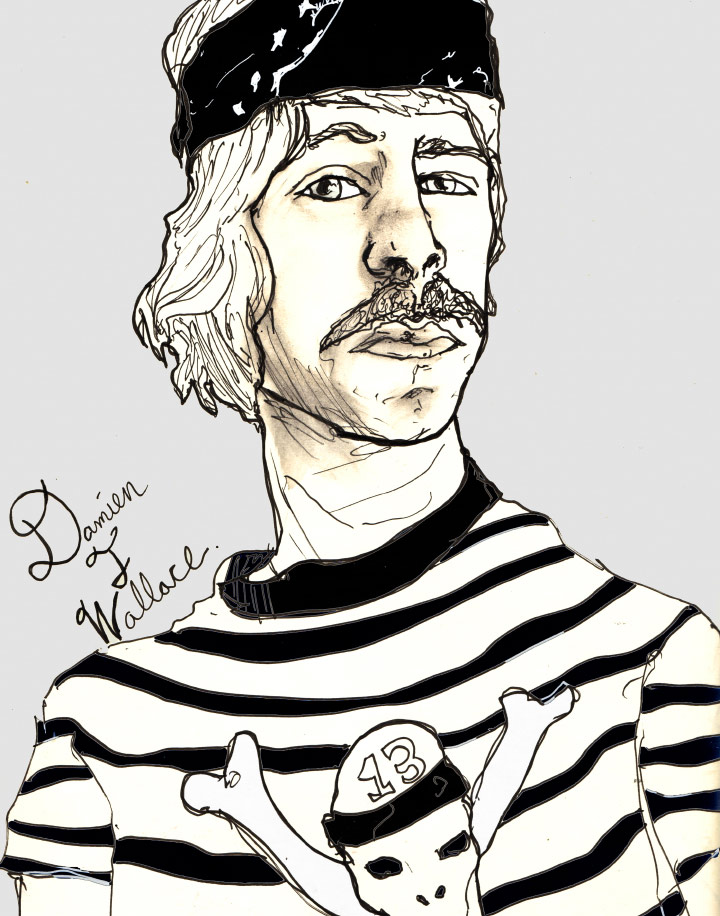 Artist Danny Roberts Portrait of his brother david roberts aka damien t wallace as a pirate pen and ink black and white.