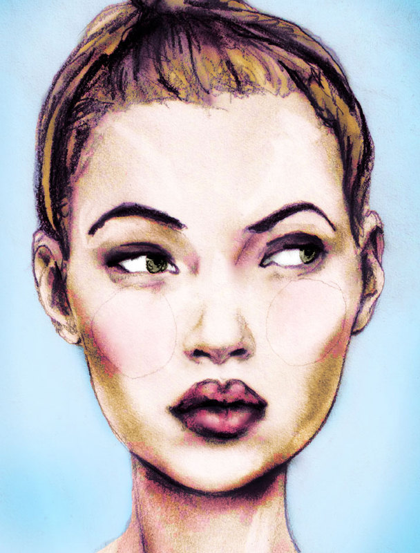 This is a portrait of Kate Moss painted by fashion artist Danny Roberts based on a photo by Frederique Veysset