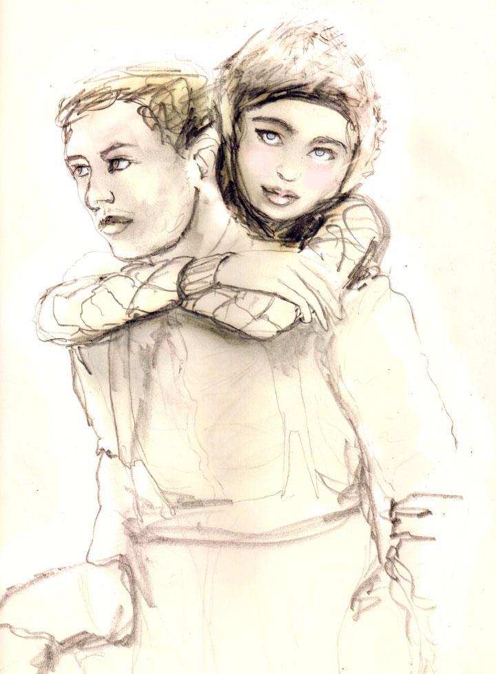 Character development drawing by Danny Roberts for a story and his series on love drawing of Samuel and lil finn