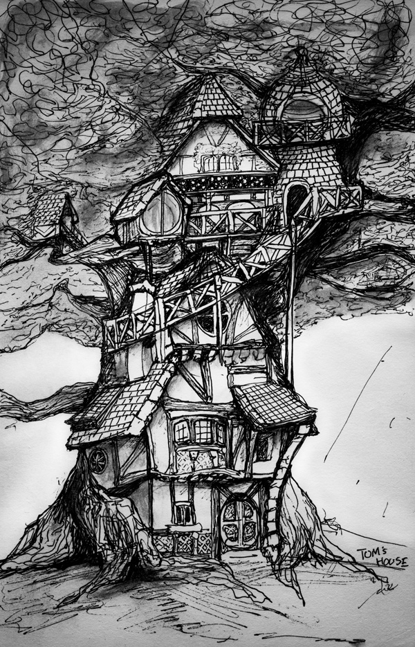 A black and white sketch by Artist Danny Roberts of a bavarian Cottage Tree House for his Children's Story book