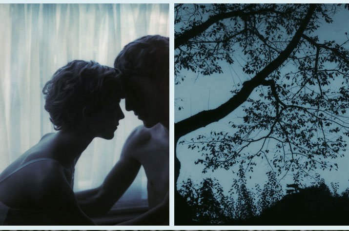 Two inspiration friday Pictures that are tinted blue one is of two lovers head to head, the other is of tree branches