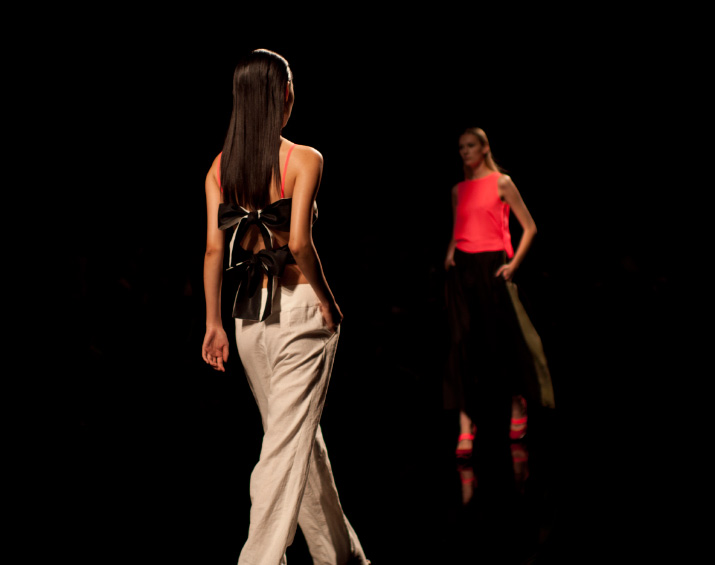 two models walking Araisara Spring 2012 tokyo fashion week