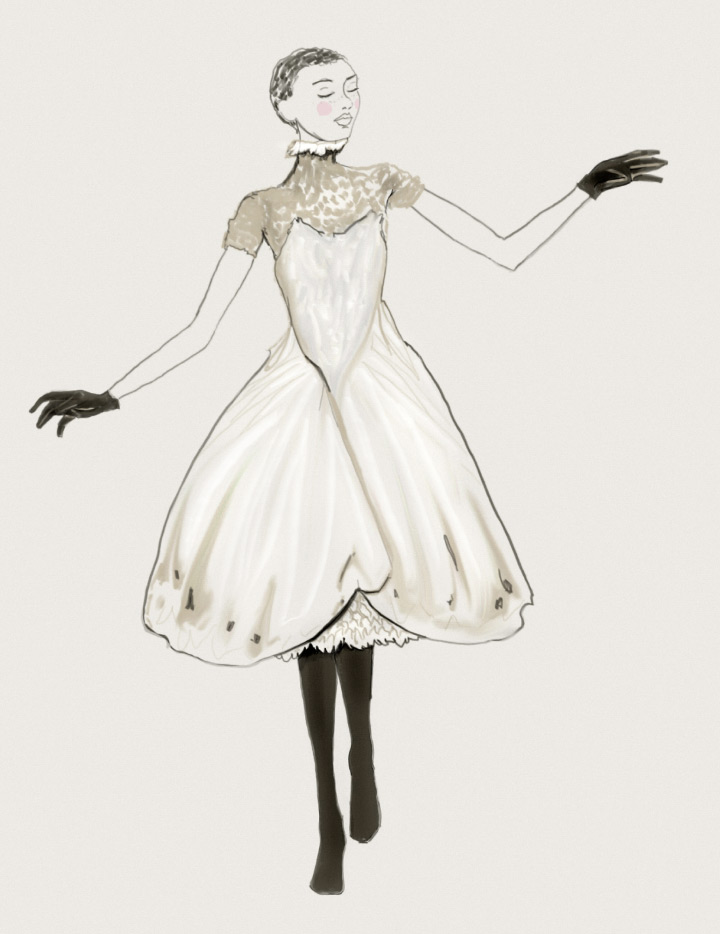 A cute sketch by Fashion Artist Danny Roberts of a dress he Designed Collection For the Whats contemporary Site the Dress was inspired by a butterfly