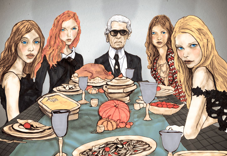Artist Danny Roberts painting of Karl Lagerfeld, tanya dziahileva, Mona Johannesson, and Lily Cole, at a Thanksgiving dinner color version