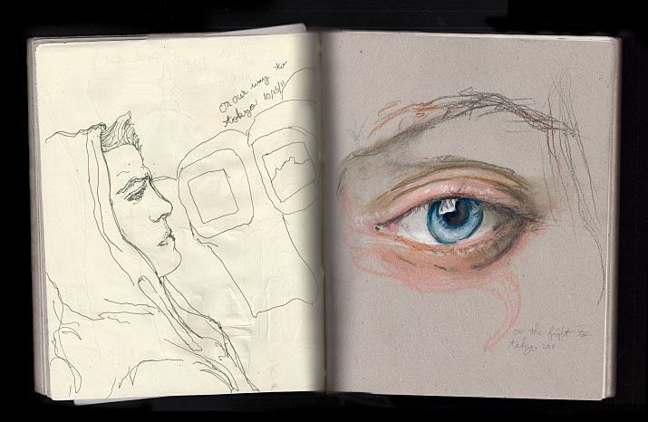 Artist Danny Roberts Sketches from his flight of an eye to tokyo Fashion Week