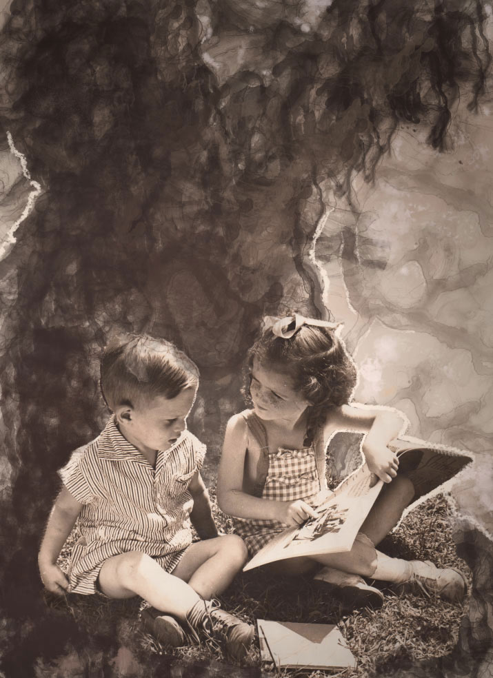 Artist danny roberts collage for Whats Contemporaryof his aunt teaching a boy how to read