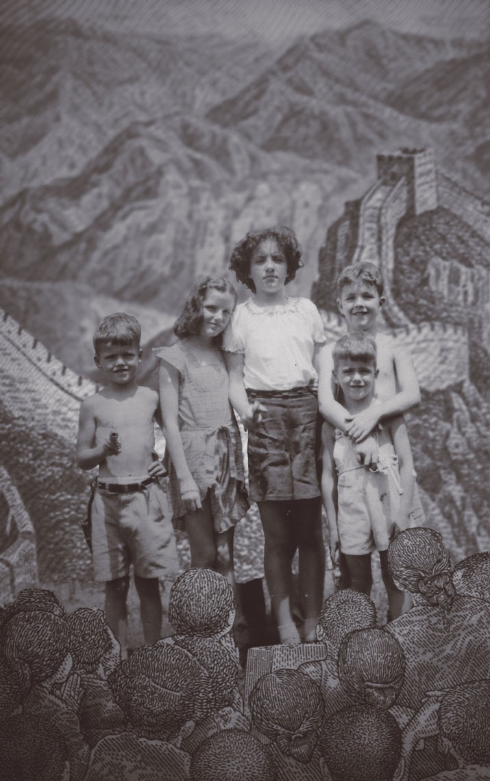 Danny Roberts Aunt and uncles in the 1940s in a collage mixed in currency from other countries in the whats contemporary issue