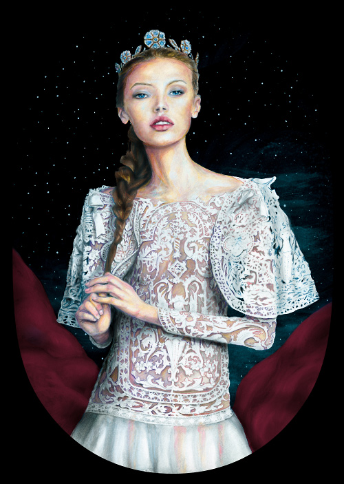 Artist Danny Roberts painting of Img swedish model Mona Johannesson Dressed like princess Josette in an detailed ornate lace dress from Machesa Fall 2012