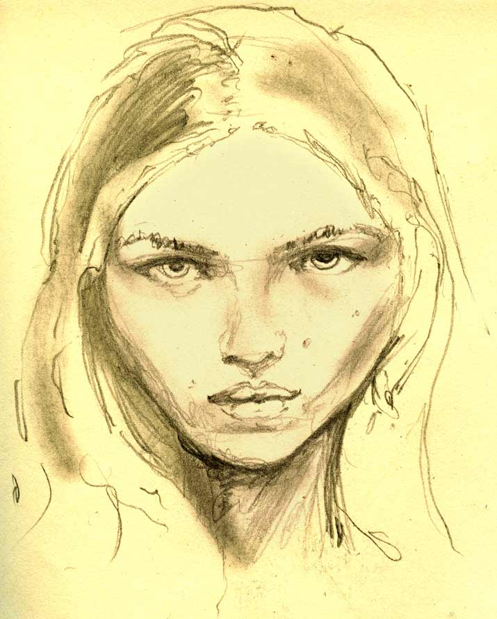 Fashion Artist Illustration sketch of Next modeling agency model rasa zukauskaite