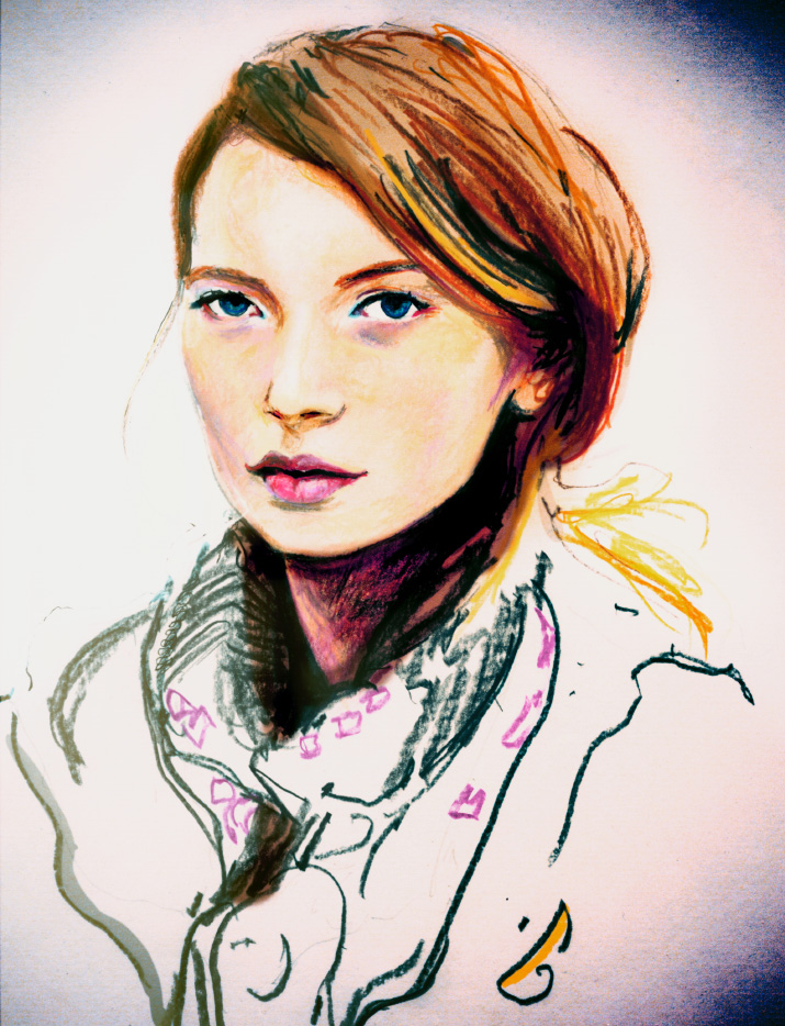Painting of Mona Johannesson by Fashion Artist and Art Director Danny Roberts from backstage at a runway show