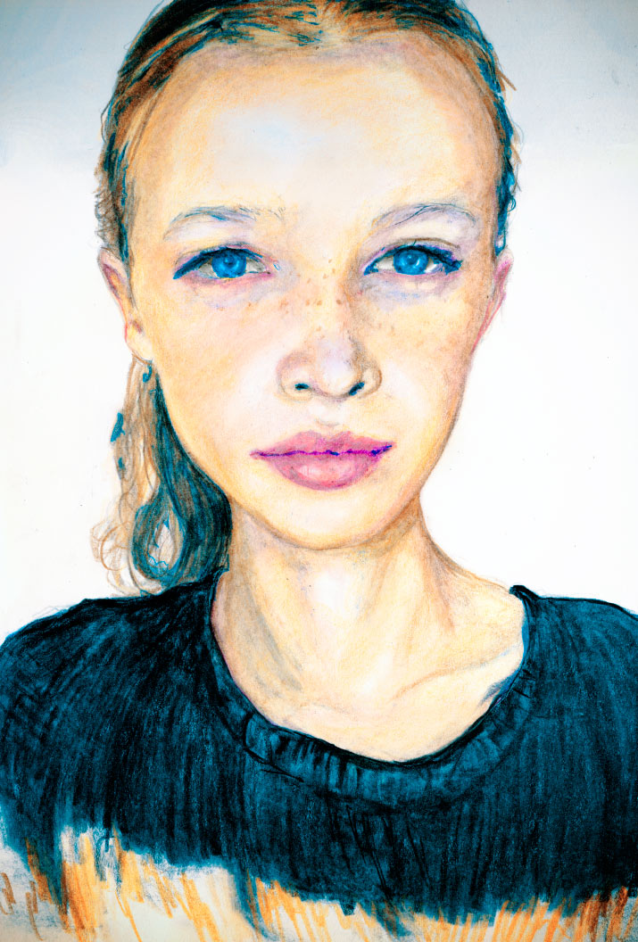 Artist Danny Roberts portrait of IMG Models Developement new face model from Denmark Anna Lund Sorensen