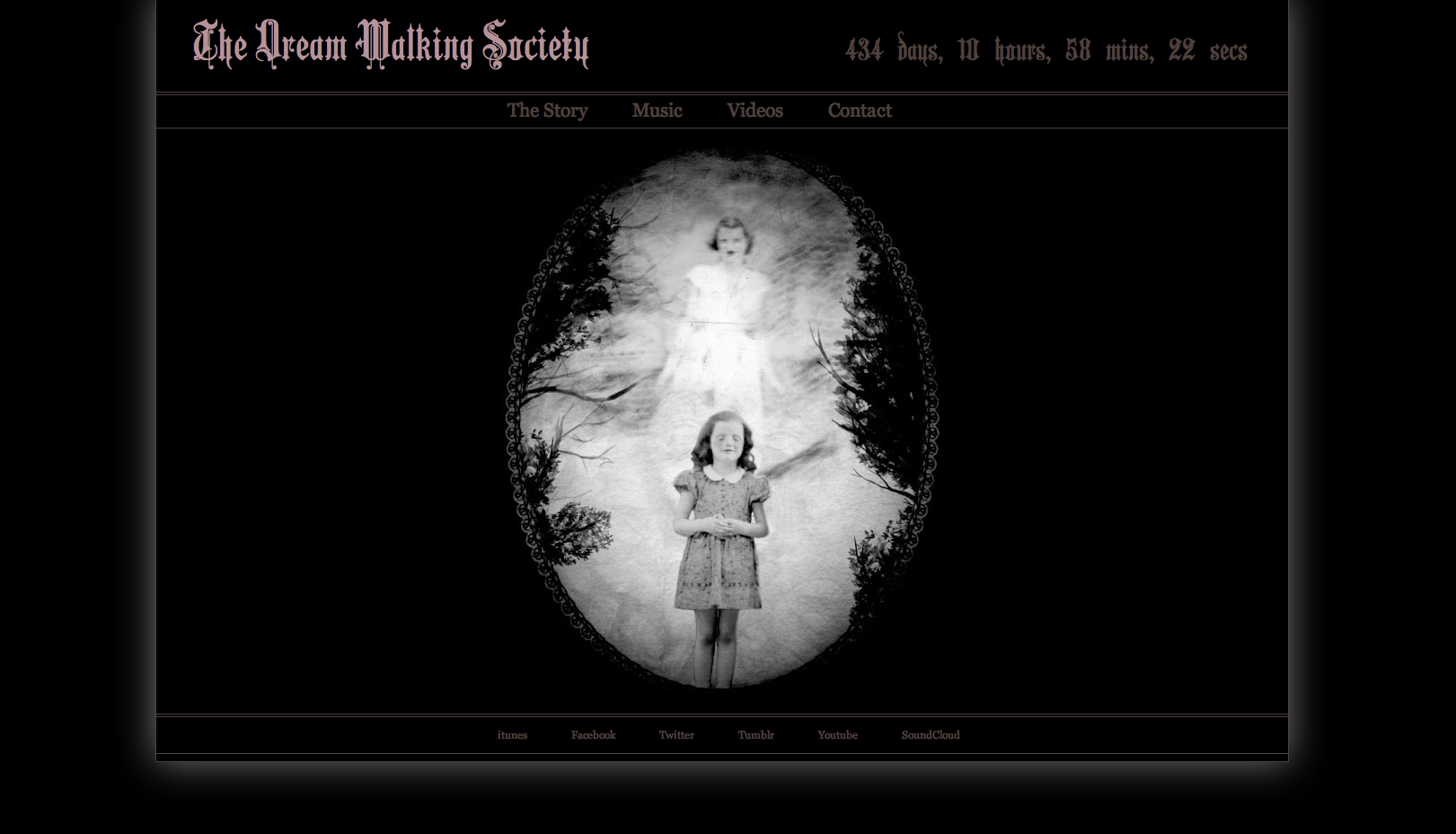 A screen shot of the dream walking society web