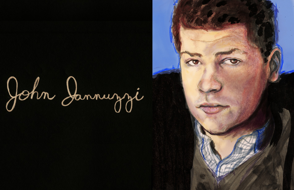 Artist Danny Roberts blogger portrait series painting of Blogger and Lucky magazine editor John Jannuzzi