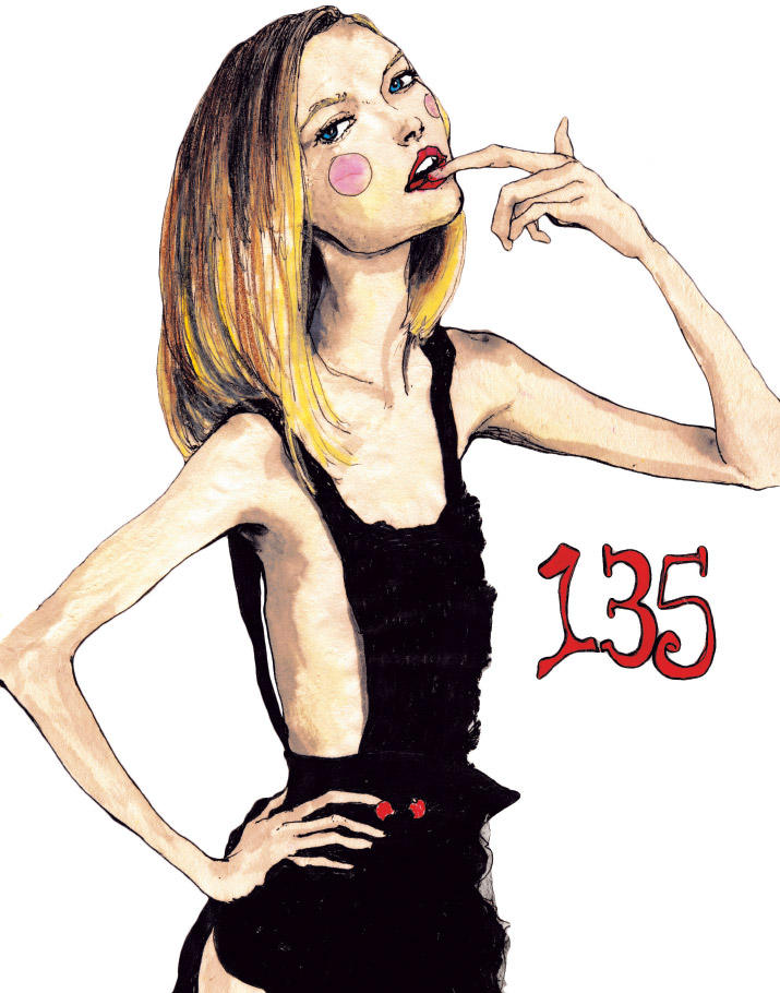 Artist and Fashion illustrator Danny Roberts Character sketchbook series drawing of Fashion Model Gemma ward inspired by Vogue Paris February 2005 Baby Doll Diva editorial