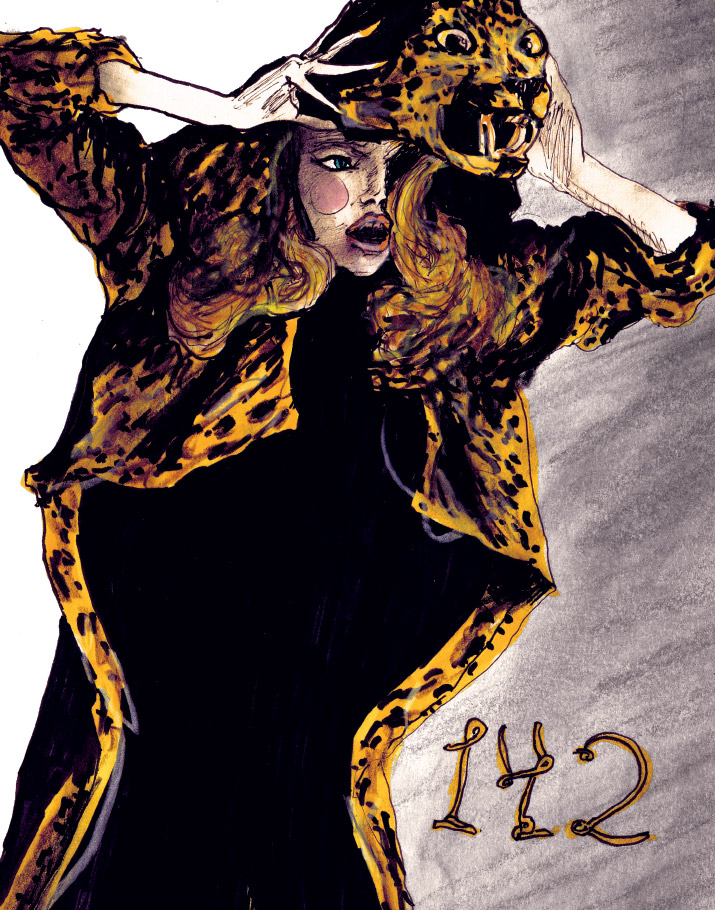 Artist Danny Roberts character sketchbook sketch of australian model Gemma Ward with leopard fur on her back