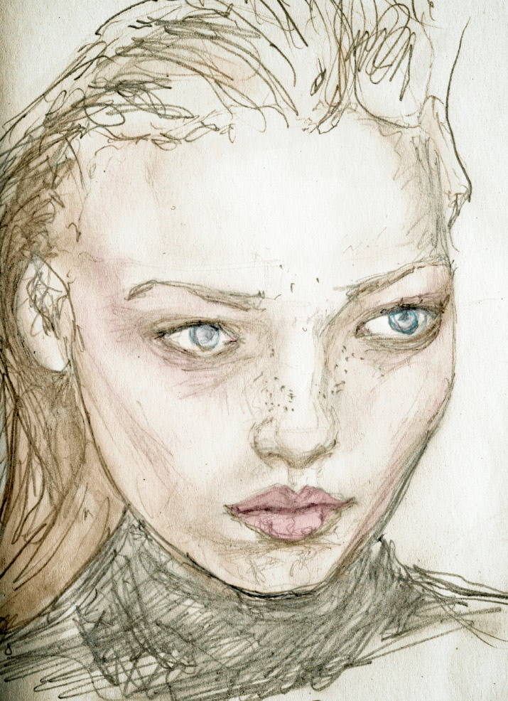 Fashion artist and Illustrator Danny Roberts Scribble Study sketch of Russian Trump Super Model Polina Kouklina