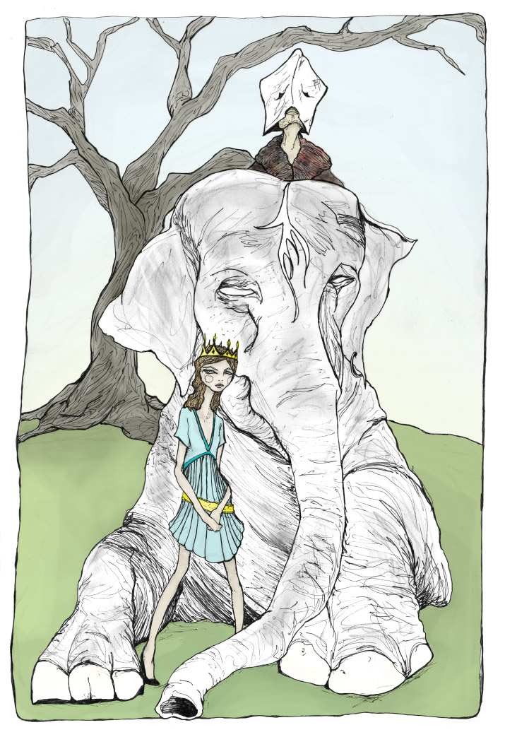Fashion artist and illustrator Danny Roberts drawing of Josette and the elphant king on an elephant