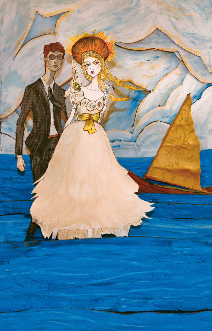 Photo of Artist danny roberts Lovers by the sea 3d layered illustration inspired by Jessica stam marc jacobs and Jean Paul Gaultier Spring 2007