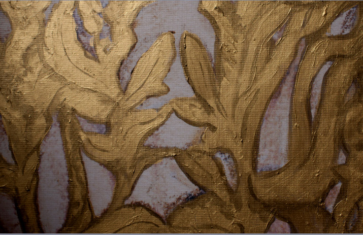 Photographer Danny Roberts Picture of the gold foil lace on his painting for Tiffany and company in Soho.