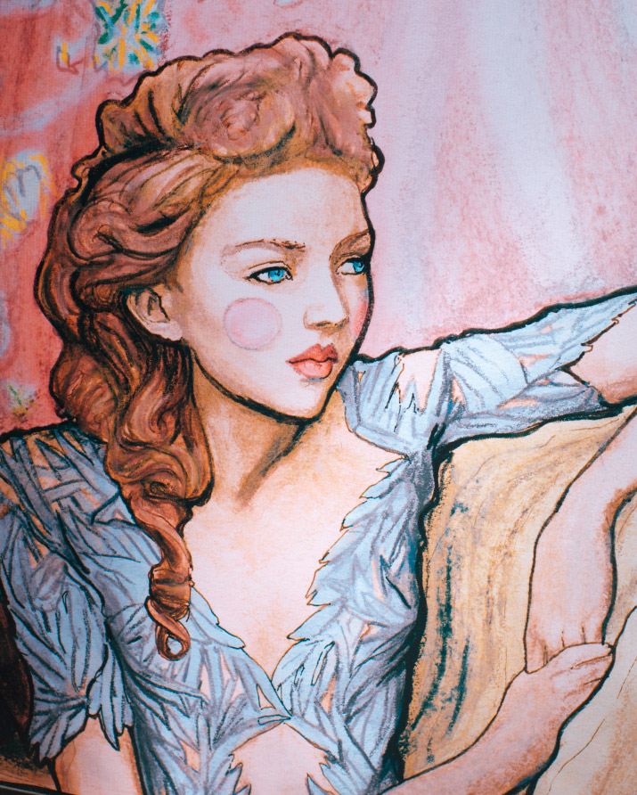 Photographer Danny Roberts Picture of his painting inspired by fashion Model Lily Cole in Marchesa for Tiffany and company in Soho.