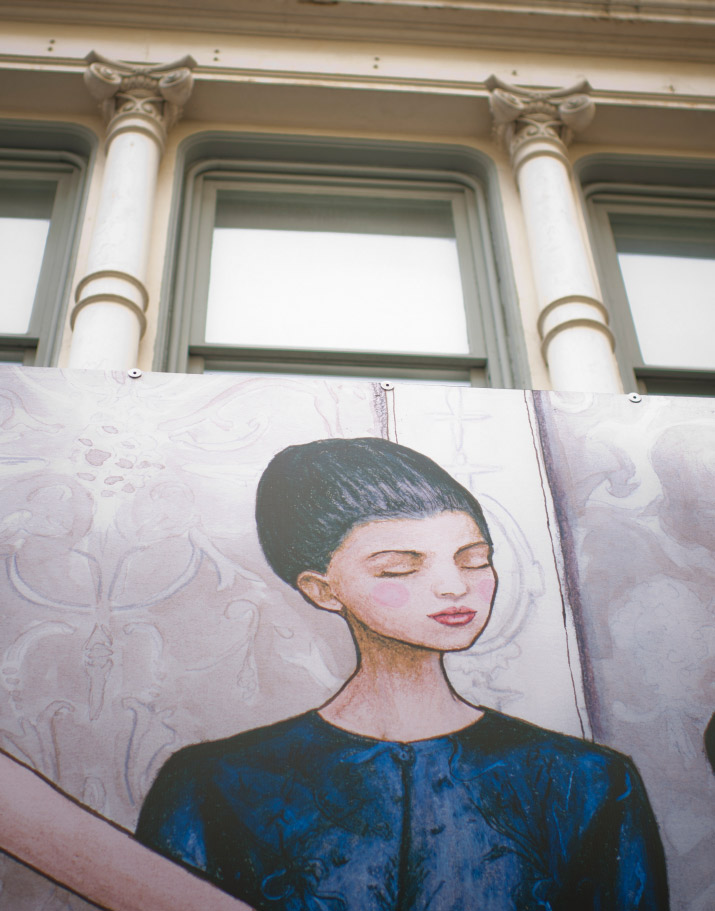 Fashion Artist & Photographer Danny Roberts photo of his mural  for Tiffany and company in Soho of a models in Valentino fall 2012 Couture collection
