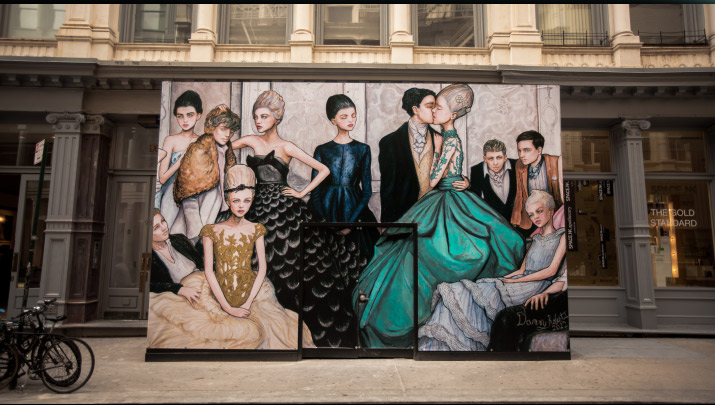 Photographer Nick Bowser photo of Fashion Artist Danny Roberts Finished full mural Tiffany and company store mural in soho new york of the tiffany blue dress