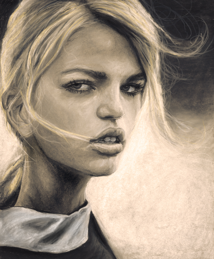 Artist Danny Roberts portrait of the beautiful fashion model Daphne Groeneveld inspired by Alasdair McLellan