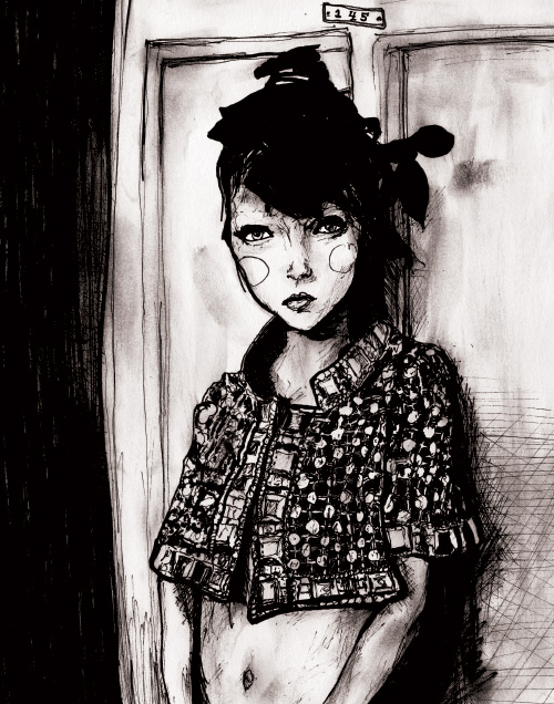 model lily cole in artist Danny Roberts Character Sketchbook 145 volume 2 black and white drawing