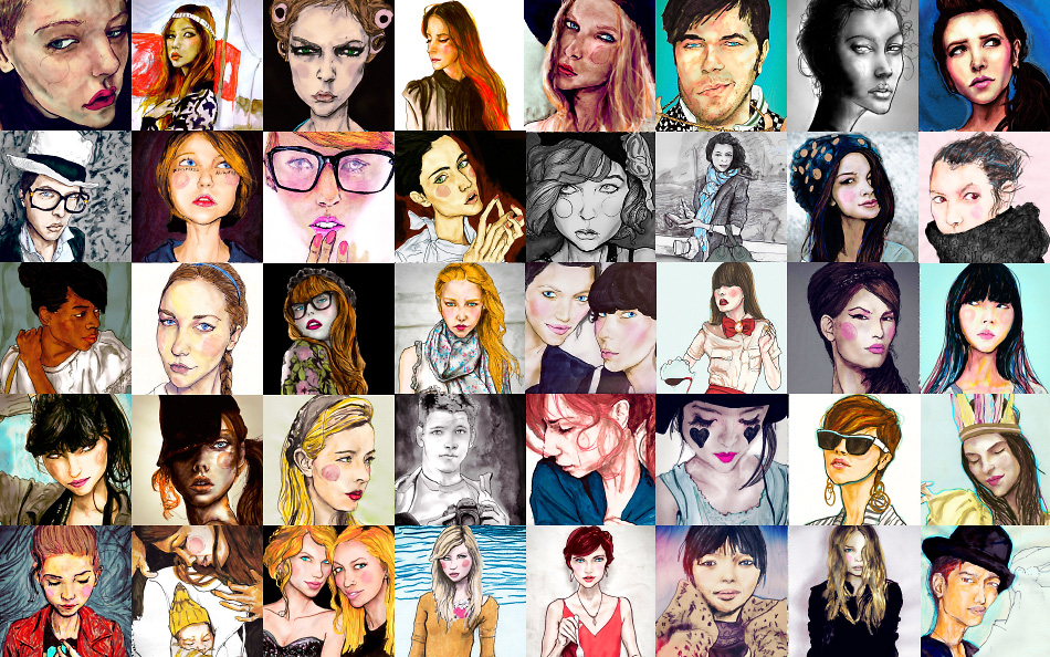 A collage of Artist danny Roberts  blogger portraits