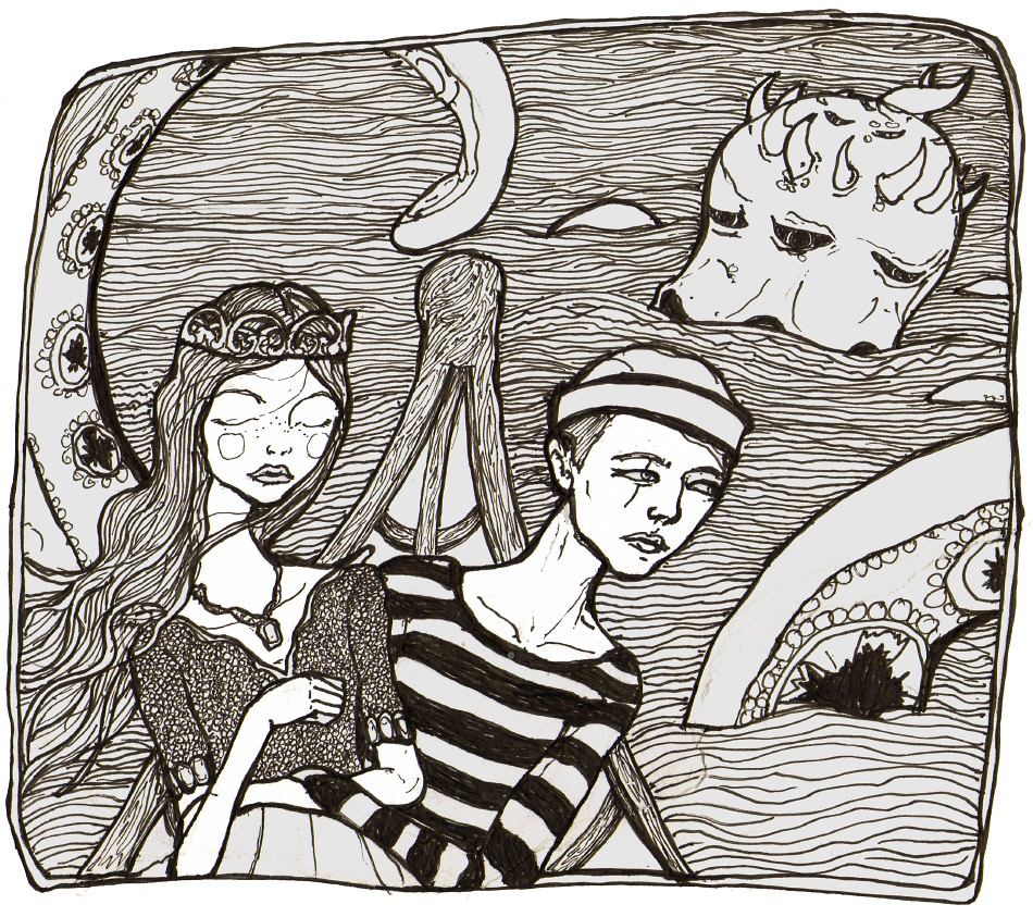 this is a drawing danny roberts did of him and a girl out at sea