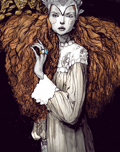 Portrait of model Lily Cole as a queen in Danny Roberts