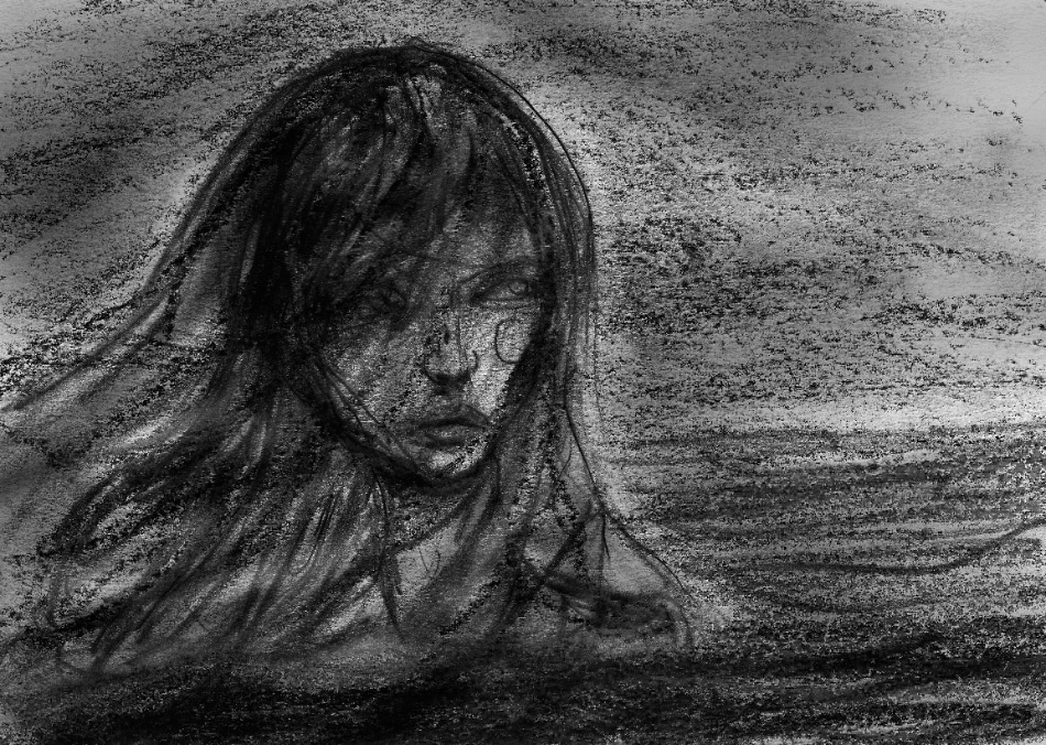 This is a Drawing Danny Roberts sketched of the siren in his story with Sophie Ward and Stacy Dupree Presented by Paper Castle Press