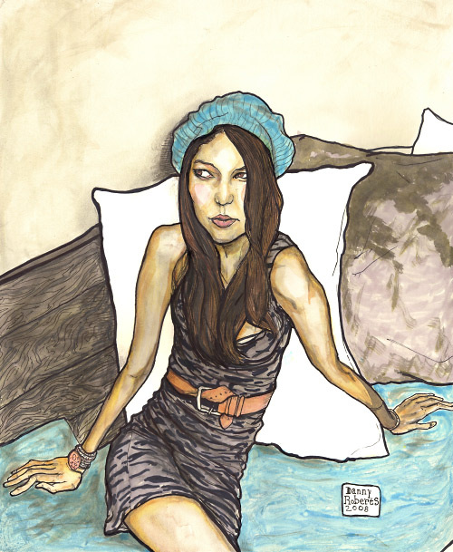Artist Danny Roberts portrait of a girl stephanie to help a guy win a girl over.