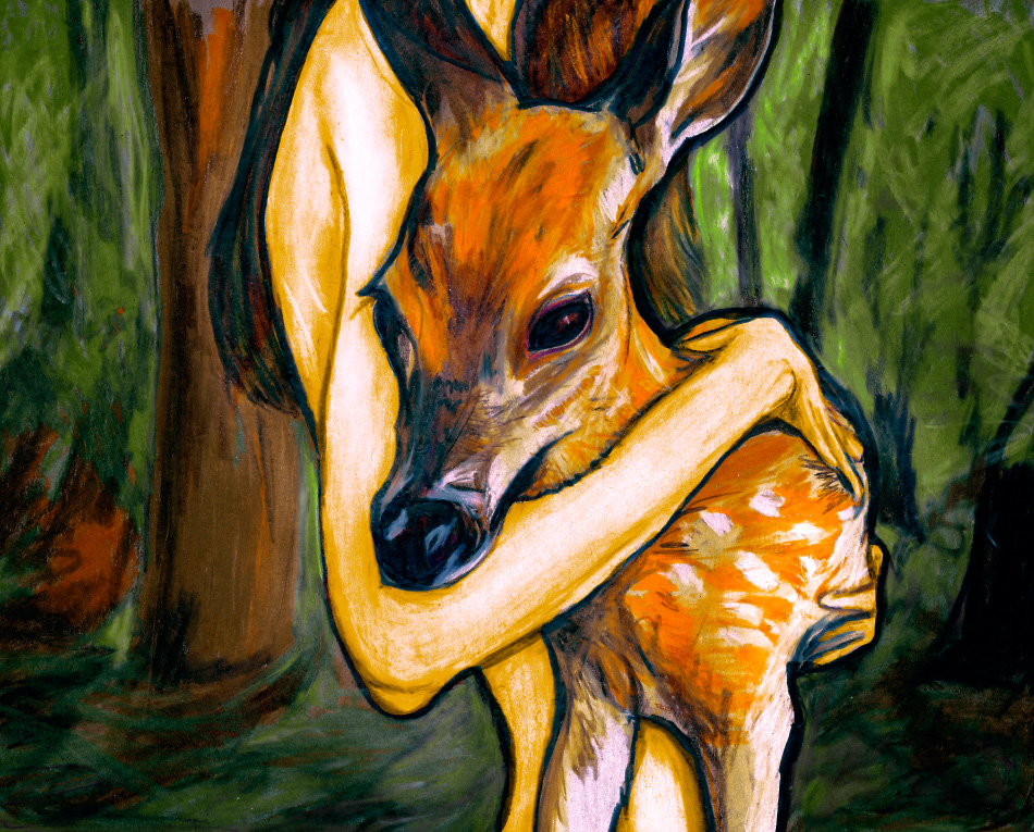 Danny Roberts figure painting of Girl With Young deer