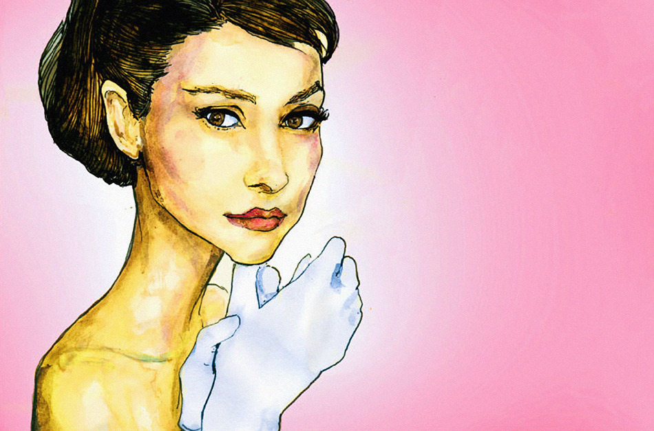 A Portrait of Audrey Hepburn from the movie funny face. Painted by Danny Roberts