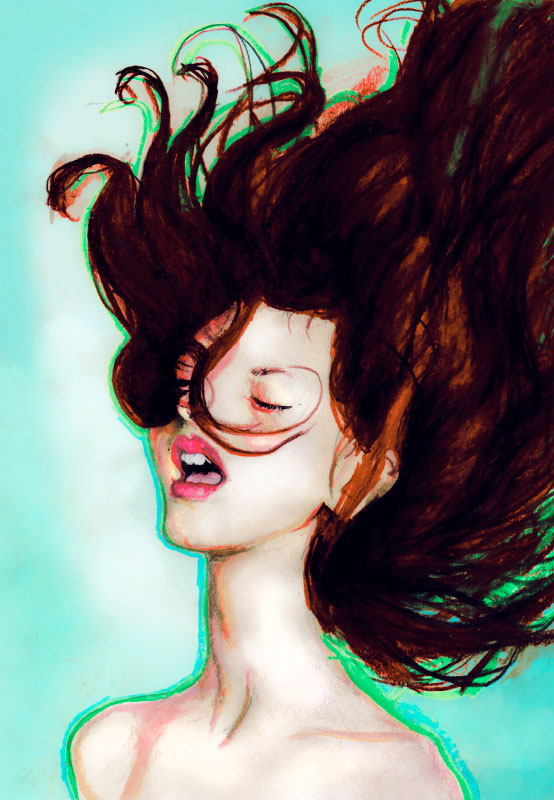 Danny Roberts Painting of a innocent girl with her hair flying