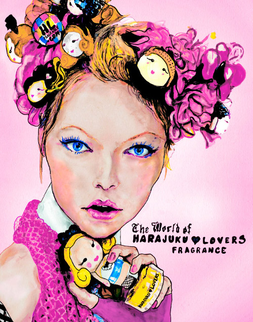 This picture is a drawing artist, Danny Roberts, did of a Harajuku Lovers Fragrance ad