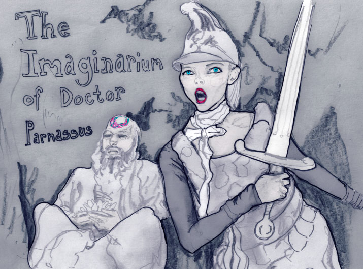 Danny Roberts drawing of Lily Cole holding a sword and Christopher Plummer in The Imaginarium of Doctor Parnassus